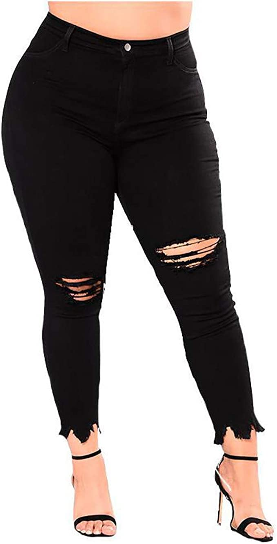 Womens Skinny Leg Ladies Stretch Pocket Ripped Knee Jeans Long Denim Trousers
