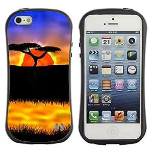Be-Star Impreso Colorido Diseño Antichoque Caso Del iFace Primera Clase Tpu Carcasa Funda Case Cubierta Par Apple iPhone 5 / iPhone 5S ( The African Safari Sunset )