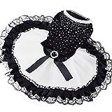 Elisona-Sweet Shiny Pet Dog Tutu Skirt Dress Clothing Costume Apparel for Daily Wedding Party Holiday Black And White Size S