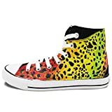 Wen Design Colorful Leopard Hand Painted Shoes Unisex Canvas High Top Sneakers
