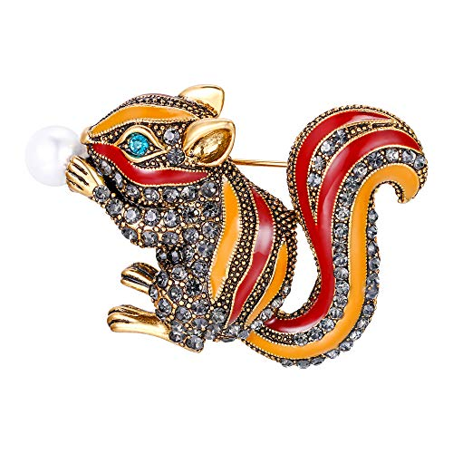 - BriLove Women's Lovely Cute Crystal Squirrel Enamel Brooch Pin Brown/Yellow Antique-Gold-Toned