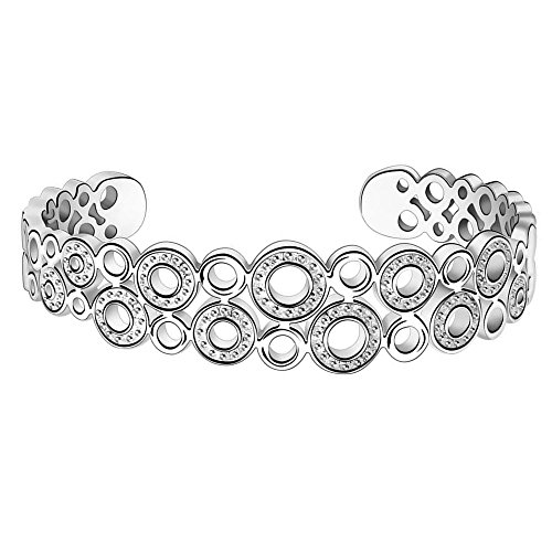 BODYA silver plated 16mm double Row Bubble circle rings Cuff Bracelet for Women girls 7.5 (Halloween Row 14 2017)