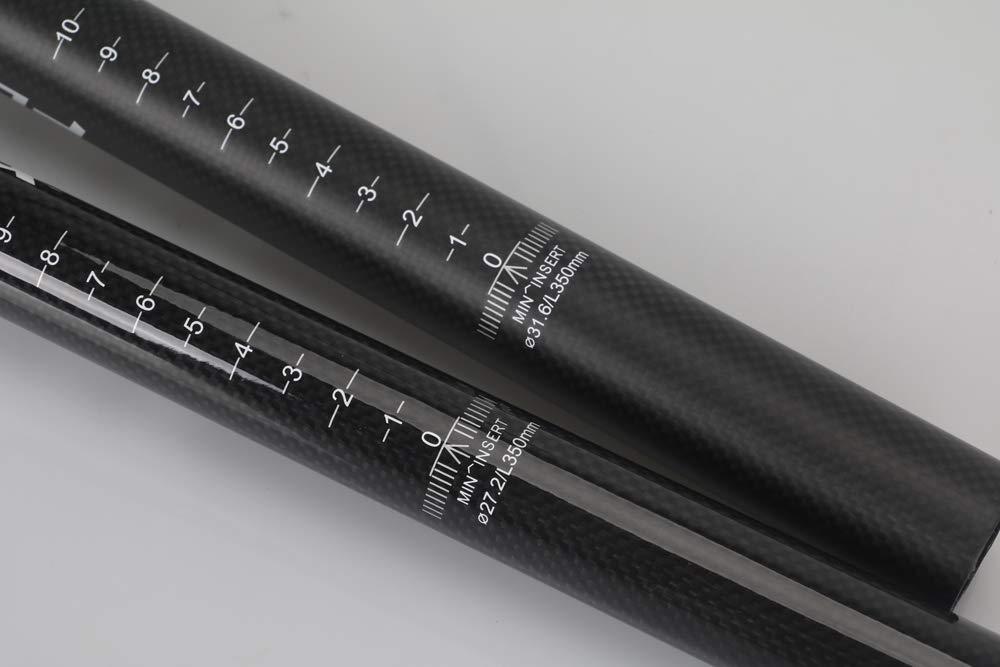 Flashfox Tige de Selle compl/ète en Fibre de Carbone avec Joint Noir 3K pour VTT//Route//v/élo Pliable