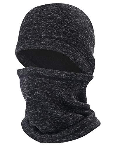 ChinFun Balaclava Knitting Face Mask Fleece Lining Cold Weather Wind-Resistant Ski Mask Ninja Mask Neck Warmer Tactical Balaclava Snowboard Cycling Winter Hats Heather Black