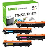 Aztech Compatible for Brother TN221 TN225 HL-3170CDW Toner Cartridge for Brother HL3170CDW MFC-9130CW MFC 9130CW MFC-9330CDW MFC 9330CDW MFC-9340CDW MFC 9340CDW HL-3140CW Printer (4PK-KCMY)