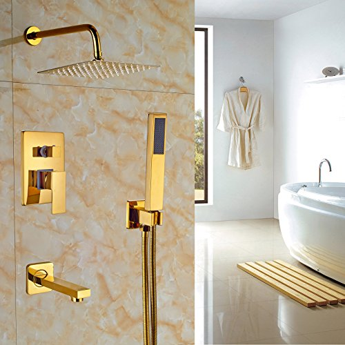 "Rozin Bathroom 10"" Square Rainfall Shower Set Tub Spout T..."