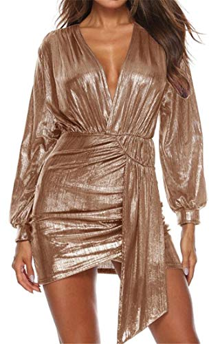 - YYG Women Sexy Long Sleeve High Low V Neck Bronzing Cocktail Party Club Mini Dress 2 XS