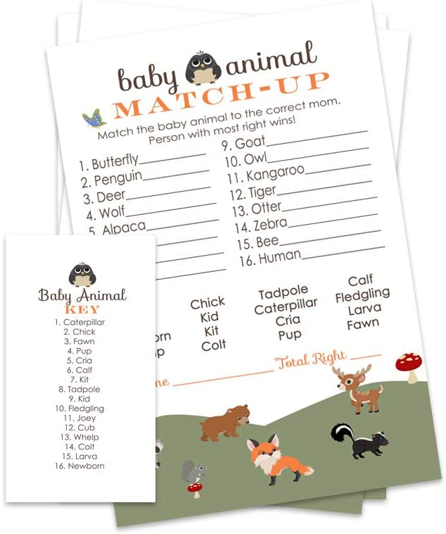 Animal Baby Match Baby Shower Game 20 Sheets Players UK Version Boy Girl Neutral