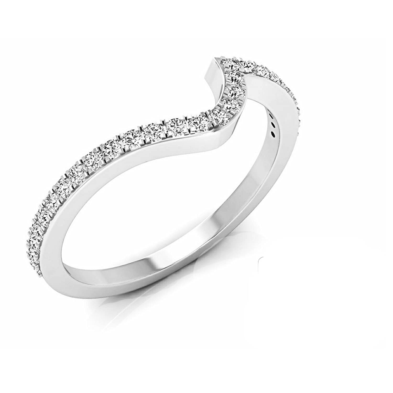 0.20 Carat (ctw) 14K Gold Round White Diamond Ladies Anniversary Wedding Contour Guard Band 1/5 CT