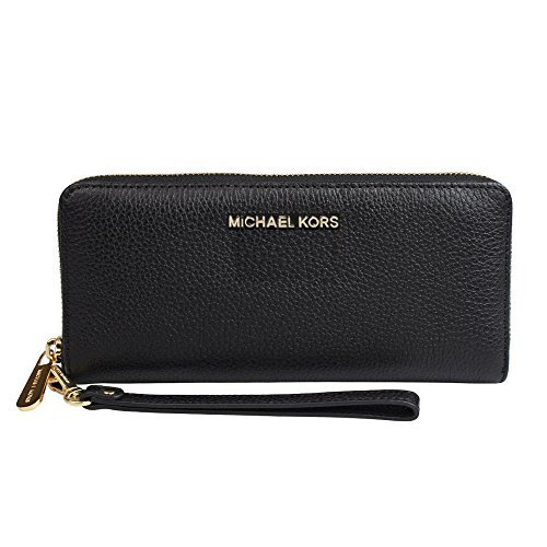 Michael Kors Jet Set Travel Continental Leather Wallet/Wristlet - Black/Gold by Michael Kors