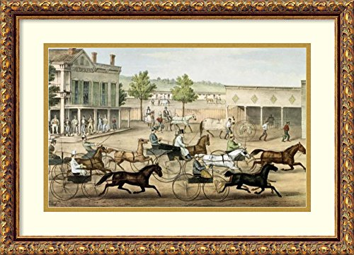 Framed Art Print 'Going to the Trot' by Currier & Ives