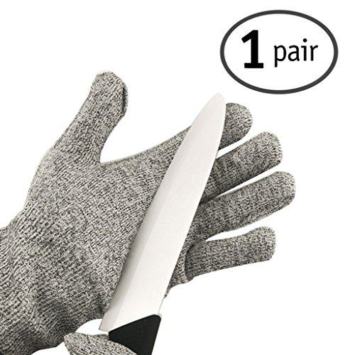Gearmax® 1 Paar Cut Resistant Kitchen Gloves Schnittfest Küchenhandschuhe Schnittschutzhandschuhe Hochwertige Performance Statistik EN388 Slash CE Level 5 Lebensmittelqualität Handschuhe (Größe: L, Grau)