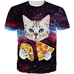 Uideazone Men Women Galaxy Cat Eat Pizza Short Sleeve T-shirt Tee Tops