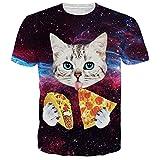 Uideazone Men Women Galaxy Cat Eat Pizza Short Sleeve T-shirt Tee Tops