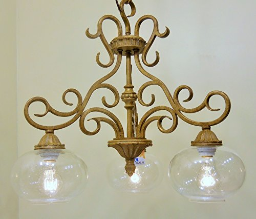 Golden Brulee Finish Scrolled Metal 3 Light Chandelier Round Seeded Glass Lighting ()