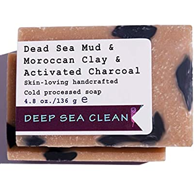 All Natural Vegan Soap Bars Handmade w/Organic Shea, Charcoal, Healing Clays. Dead Sea Mud. Ideal for Sensitive, Dry Itchy Skin, Acne, 4.8 oz