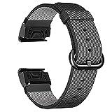 Azadodo for Garmin Fenix 2 Watch Band, 26mm Watch Band for Fēnix, Quatix, Fenix 2, Fenix 2 Special Edition, D2 Pilot, Tactix Europe (Nylon - Black)