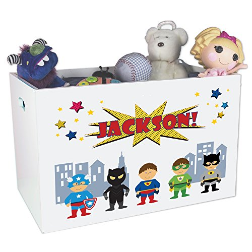 Personalized Super Hero Childrens Nursery White Open Toy Box by MyBambino