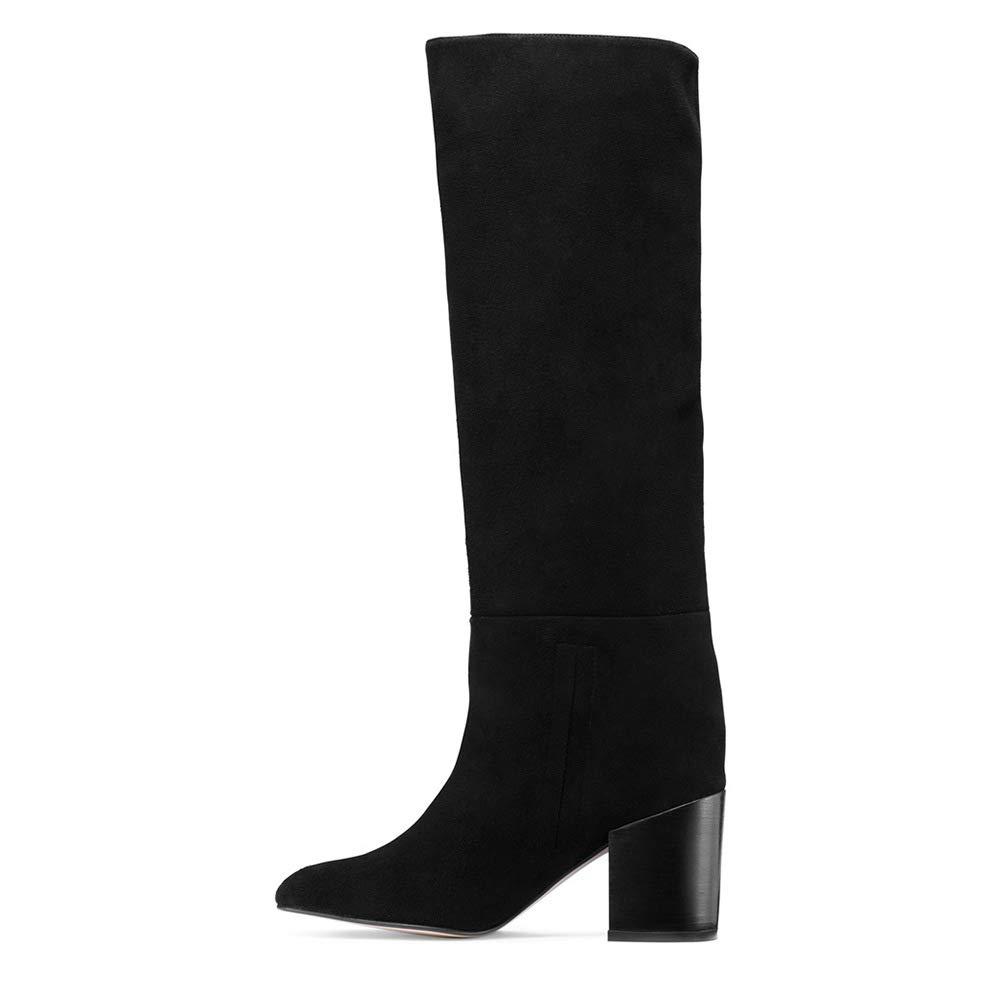 Hy Zapatos de Mujer, PU Artificial de otoño/Invierno, Mocasines de tacón Grueso y Botas largas, Botas de Moda de Gran tamaño para Damas, Botas Altas hasta ...