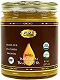 Organic Paleo Cultured Brown Butter Ghee, Grass Fed, Casein and Lactose Free (8 oz)