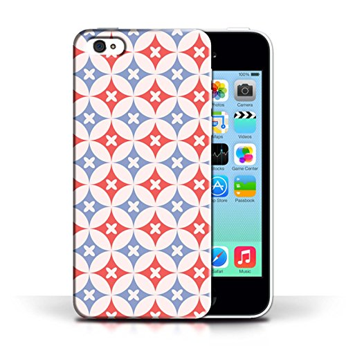 iCHOOSE Print Motif Coque de protection Case / Plastique manchon de telephone Coque pour Apple iPhone 5C / Collection Kaléidoscope / Rouge / Bleu