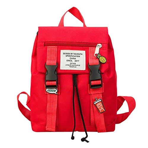 Fashion Backpack, Balakie Girls Boys Preppy Student Shoulder School Bag Family Mom Travel Bag (Red, L) by Balakie Bag