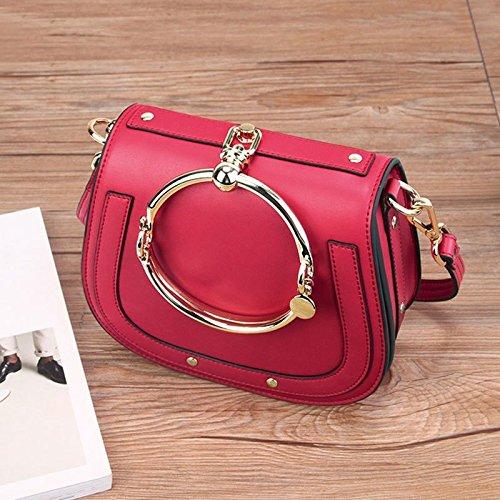 rings Satchel saddle GMYAN bags Shoulder fashion gules Single leather retro Ladies 7qRxWz6w4E