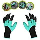 Misby Garden Genie Gloves with Fingertips Uniex Claws on Both Hands Quick & Easy to Dig and Plant Safe for Rose Pruning - As Seen On TV (1 pair), Green