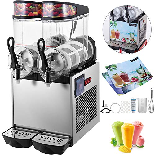 VEVOR 110V Slushy Machine 12Lx2 Bowl Frozen Drink 700W Margarita Maker for Supermarkets Restaurants Commercial Use, Sliver