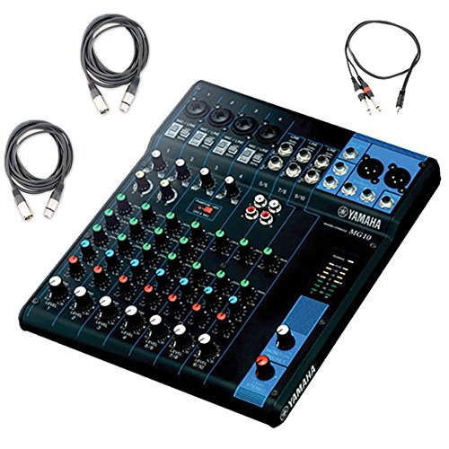 Yamaha MG10 10-Input Stereo Mixer w/ (2) 20' XLR Mic Cables and Stereo 1/8'' TRS to Dual 1/4'' Breakout Cable by Yamaha