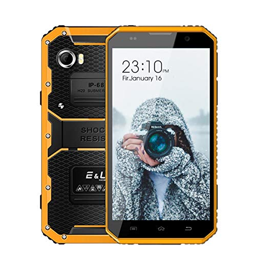 """Unlocked Rugged Cell Phone E&L W9 Smartphone 6.0 inch 16GB/2GB 4G Android 6.0-6.0""""HD IP68 Waterproof Dual SIM Phone - 4000mAh Battery 5MP+8MP(Yellow)"""