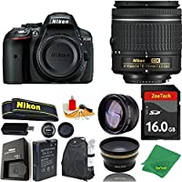 Great Value Bundle for D5300 DSLR – 18-55mm AF-P + 16GB Memory + Wide Angle + Telephoto Lens + Backpack