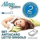 Set Antiacaro Allergosystem: coprimaterasso Antiacaro con cerniera per letto singolo 90x200x20cm + copricuscino 50x80cm