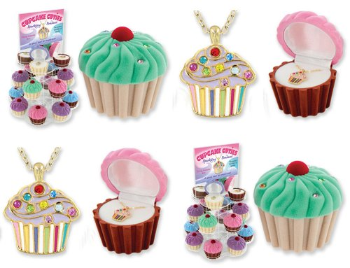 Enamel Cupcake - Cupcake Cuties Enamel Pendant Necklace in Figural Gift Box (Sold Individually)