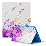 Dteck iPad 2/3/4 Case - Slim Fit Folio Stand Case Smart Protective Shell Auto Sleep/Wake Feature Wallet Cover for Apple iPad 2, iPad 3 & iPad 4th Generation with Retina Display - Purple Feather
