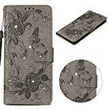 anzeal Samsung Galaxy S9 Case Leather,Samsung Galaxy S9 Wallet Case with Stand Leather Bling Rhinestone Case Kickstand Feature Card Slots and Magnetic Closure for Samsung Galaxy S9 Grey