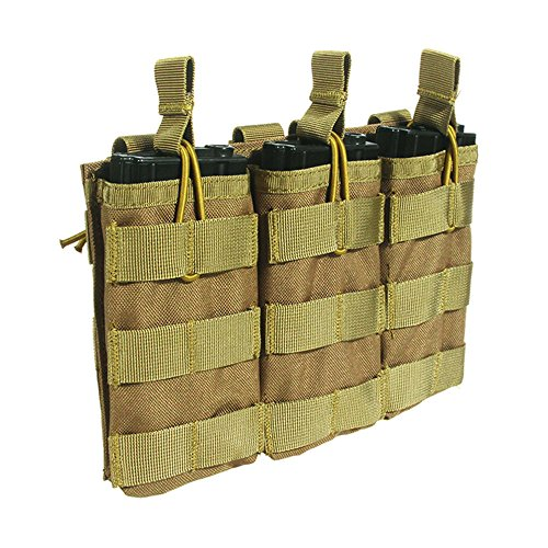 Loglife Tactical Magazine Pouch Holds Holster Triple M4/M16 Open Top Mag Pouch 1000d with Bungee System (DE)