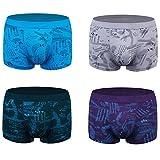 wirarpa Men's Underwear 4 Pack Stretch Modal Microfiber Trunks Soft Waistband Short Leg, Medium 1401-4p-print Design