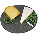 Round Slate Cheese Board By EMEMO – 12 Inch Cheese Tray & Serving Plate For Smoked Meats - Elegant Look & Unmatched Furniture Protection - Made Of Genuine Black Slate