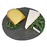 meat cheese tray - Round Slate Cheese Board By EMEMO – 12 Inch Cheese Tray & Serving Plate For Smoked Meats - Elegant Look & Unmatched Furniture Protection - Made Of Genuine Black Slate