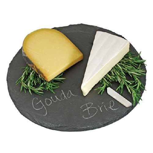Round Slate Cheese Board By EMEMO - 12 Inch Cheese Tray & Serving Plate For Smoked Meats - Elegant Look & Unmatched Furniture Protection - Made Of Genuine Black Slate