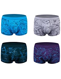 wirarpa Mens Underwear Modal Soft Boxer Brief 4 Pack Covered Waistband Short Leg