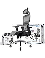 NOUHAUS Ergo3D Ergonomic Office Chair - Rolling Desk Chair with 3D Adjustable Armrest, 3D Lumbar Support and Blade Wheels - Mesh Computer Chair, Gaming Chairs, Executive Swivel Chair (Grey)