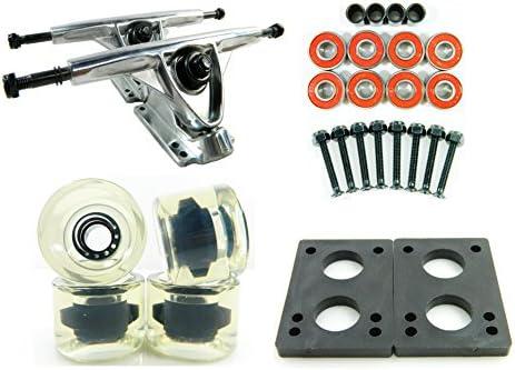 "180mm Polished Trucks + 70mm Solid/Gel Wheels + ABEC 7 Bearings + 1/4"" Riser Pads"