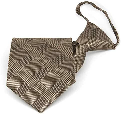 TieMart Toffee Brown Michael Glen Plaid Zipper Tie