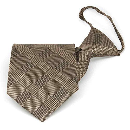 (TieMart Toffee Brown Michael Glen Plaid Zipper Tie)