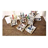EILEMO Foldable Fabric&Wood Storage Bins Simple Desk Shelf Baskets Organizers - Set of 6