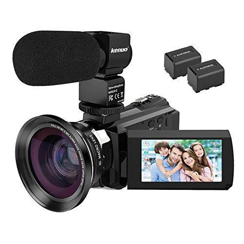 Video Camera 4K Camcorder, Kenuo Camcorders 48MP Ultra HD Digital WiFi Camera with External Microphone 3.0
