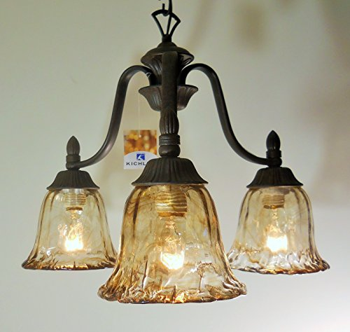 Tannery Bronze Finish 3 Ligth Chandelier Handmade Glass Cottage Cabin Lodge - Tannery Bronze Finish Chandeliers