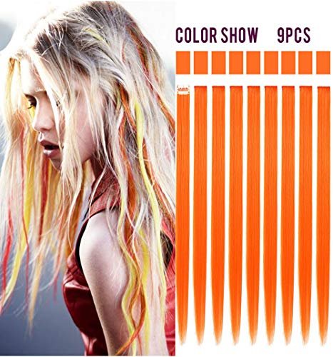 Rhyme 9 PCS Orange Hairpieces Colored Hair Extensions Clip in/On for Girls and Dolls Hair Accessories Wig Pieces for Kids -